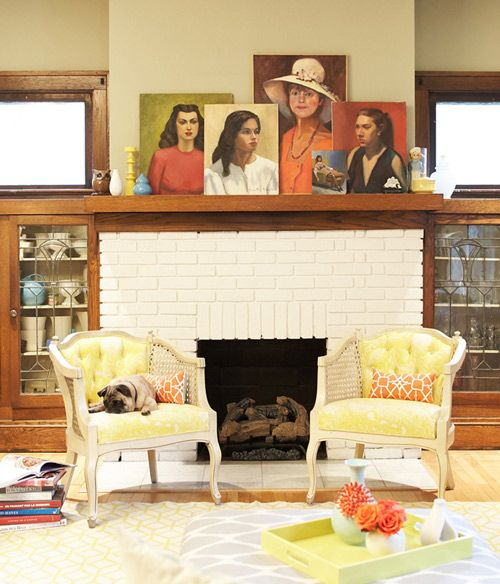 layered art on the mantle Fireplace Styling Ideas Pinterest
