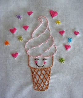 Cute Ice Cream Embroidery  Motifs De Broderie