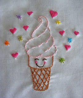 Cute Ice Cream Embroidery  Motifs De Broderie