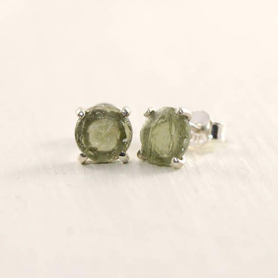 Raw Moldavite Earrings In Sterling Silver Czech Jewelry Olive Green Teke Stud Meteorite