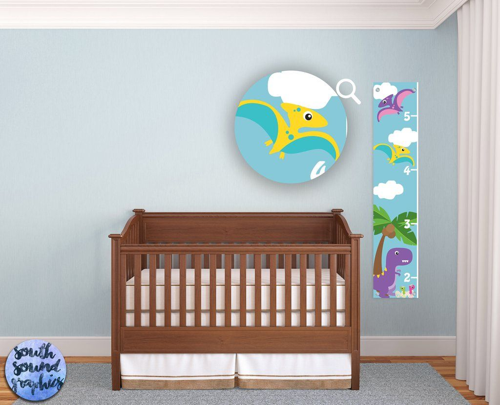 Growth Chart For Boys  Kids Room Wall Decor  Dinosaur Custom