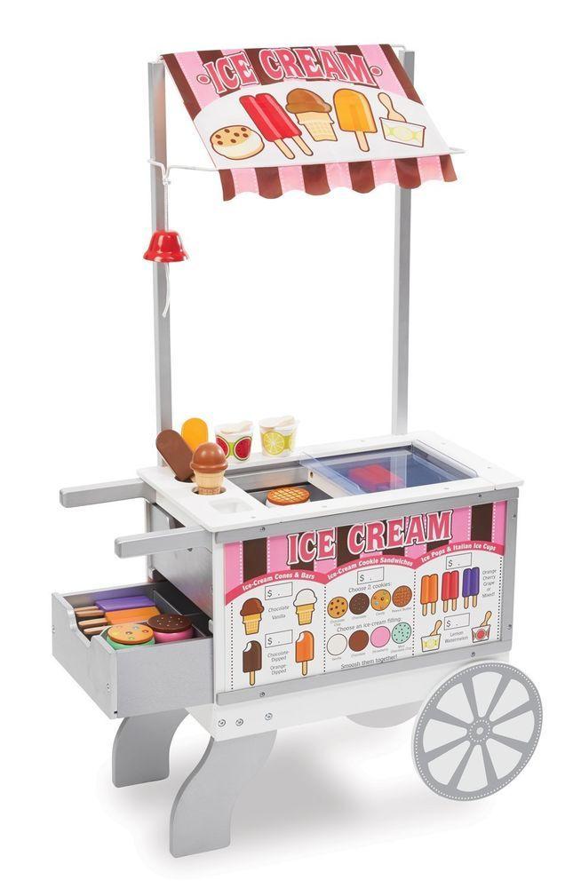 Snack Street Food Vending Cart Ice Cream Pretend Play Preschool Kitchen Hot Dog