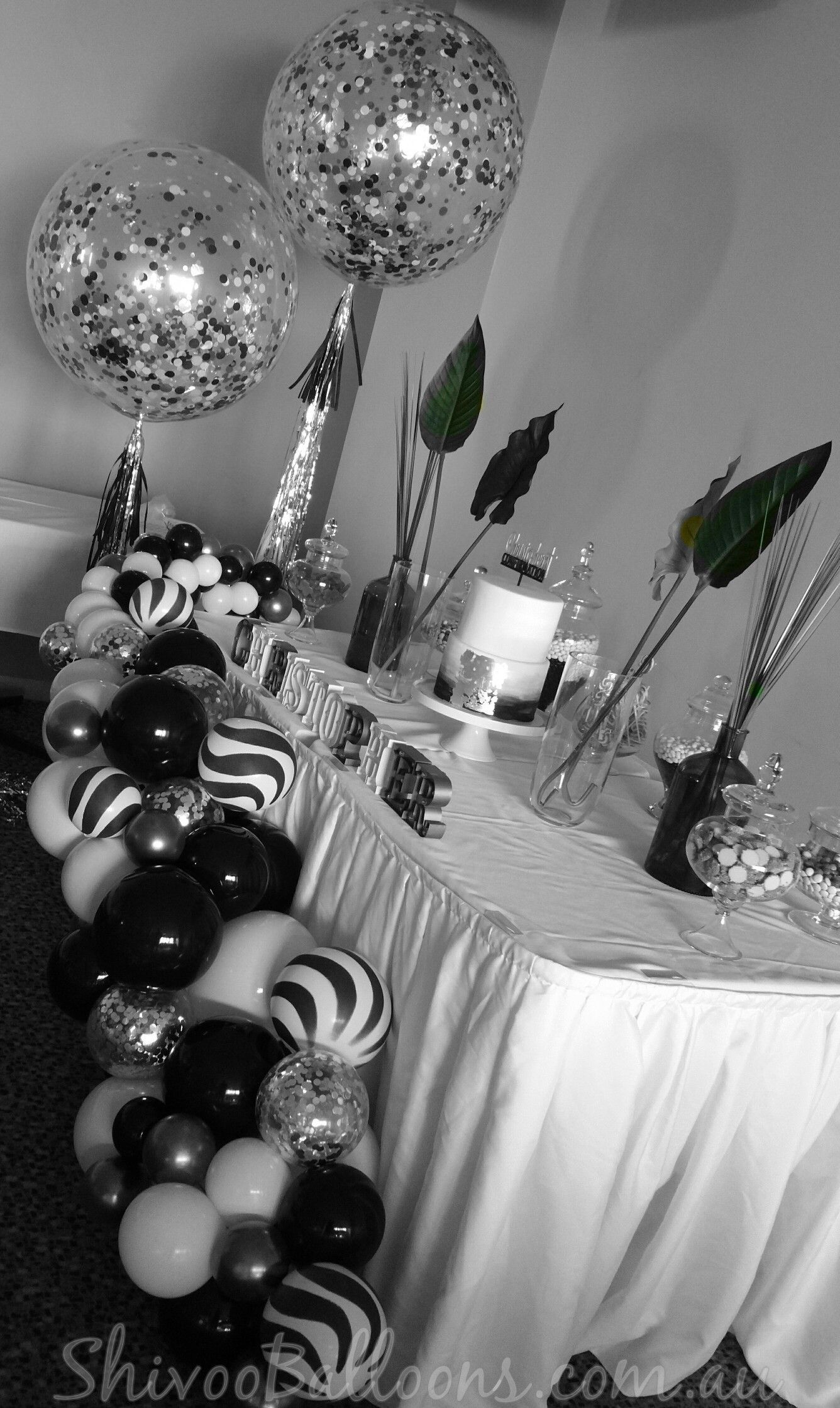Black And White Organic Balloon Garland 70th Birthday Parties 16th 40th