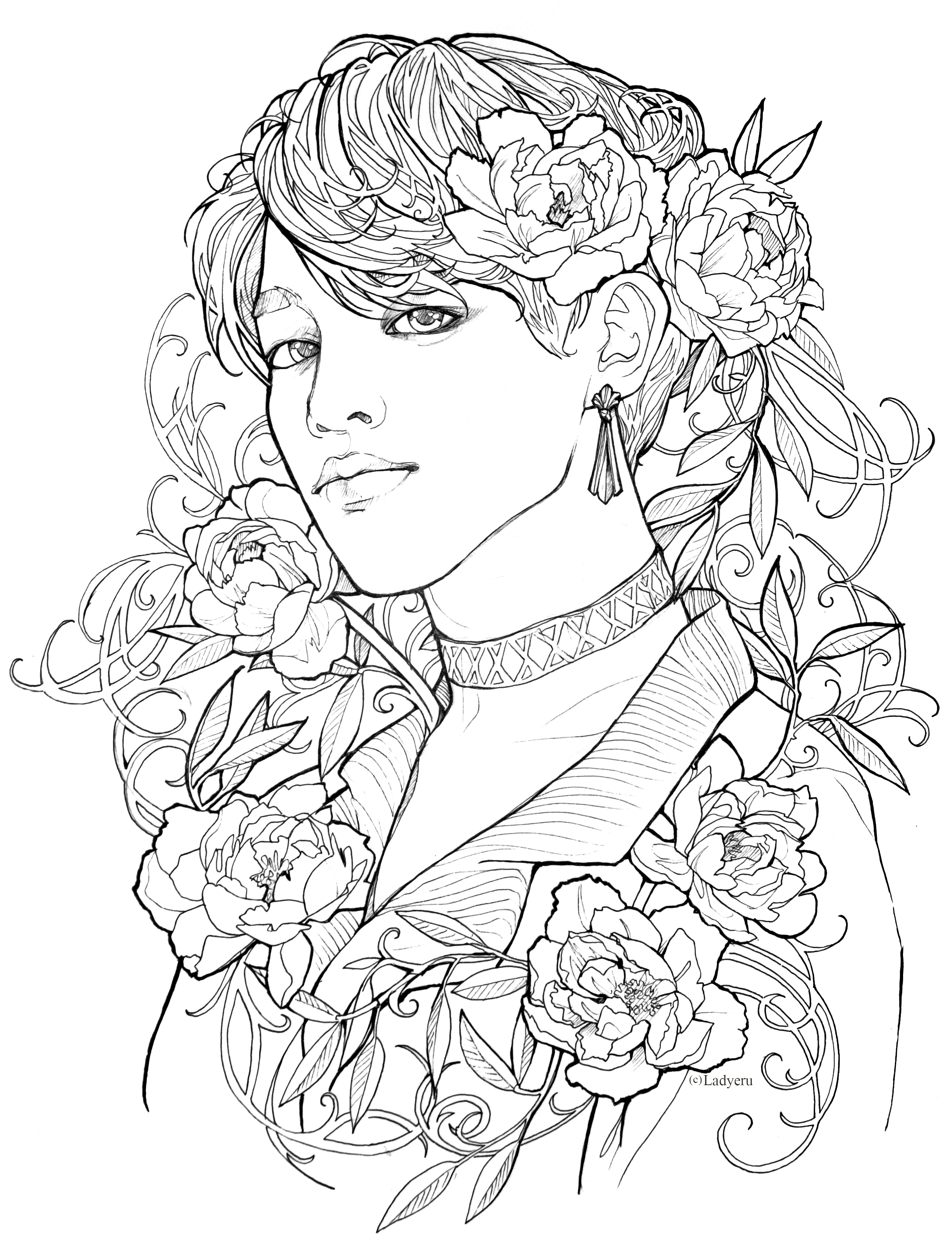 Park Jimin Lineart Page By Ladyeru 3 Bts Jimin Coloring Pages Bts Drawings Drawings
