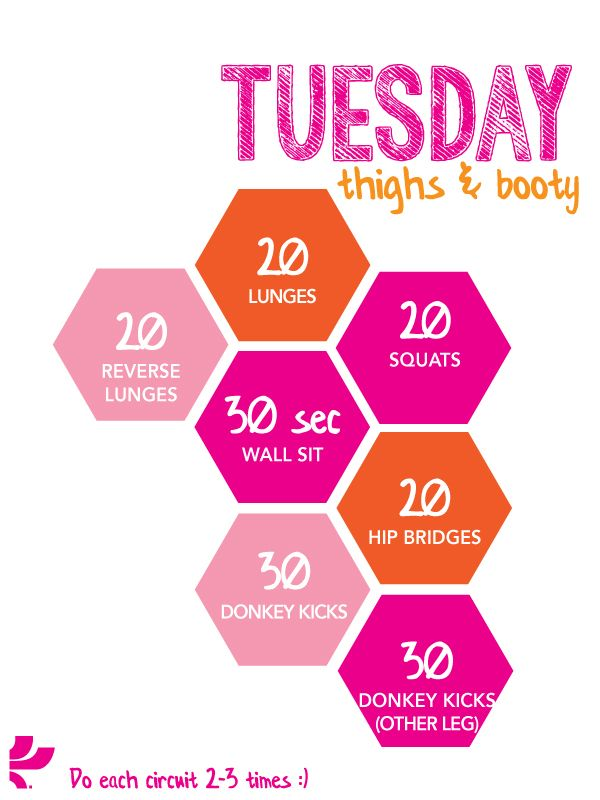 Tuesday workout plan to reach my goal Pinterest – Weekly Workout Plan