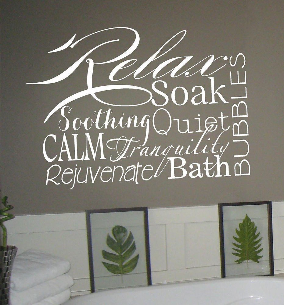 relax collage vinyl lettering decal words wall sticker bathroom home art spa