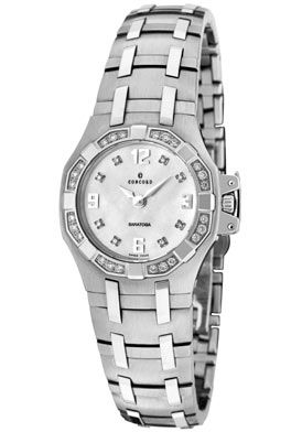 Click Image Above To Buy: Concord 0310958 Women's Saratoga White Mop White Diamond Stainless Steel Watch
