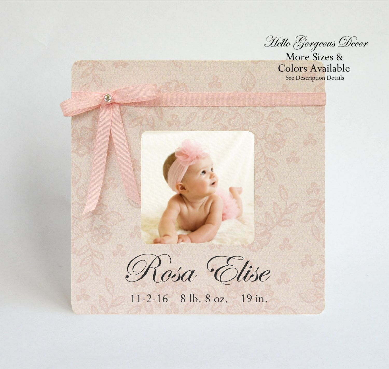 Engraved New Baby Gift Personalised Pink Baby Girl  Birth Data Photo Frame
