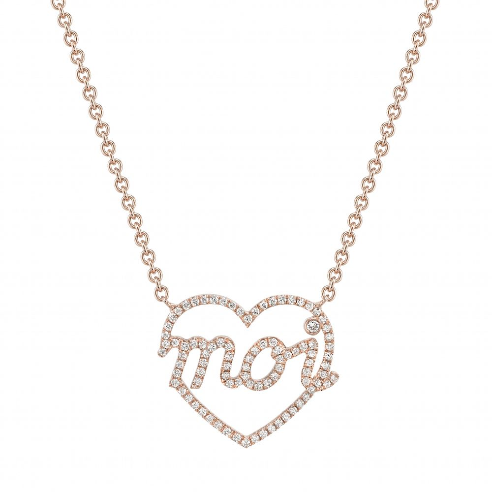 Mini moi k rose gold heart shape pendant set with pavé diamonds