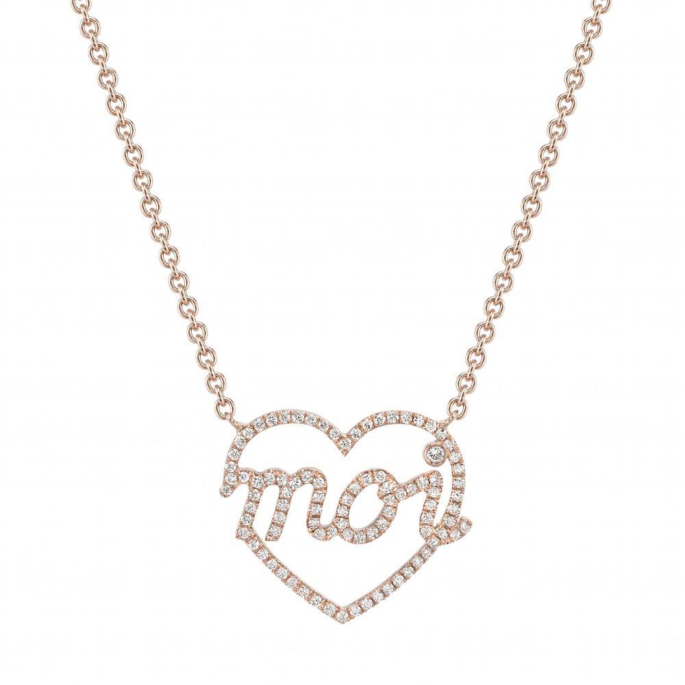 Mini moi k rose gold heart shape pendant set with pavé diamonds