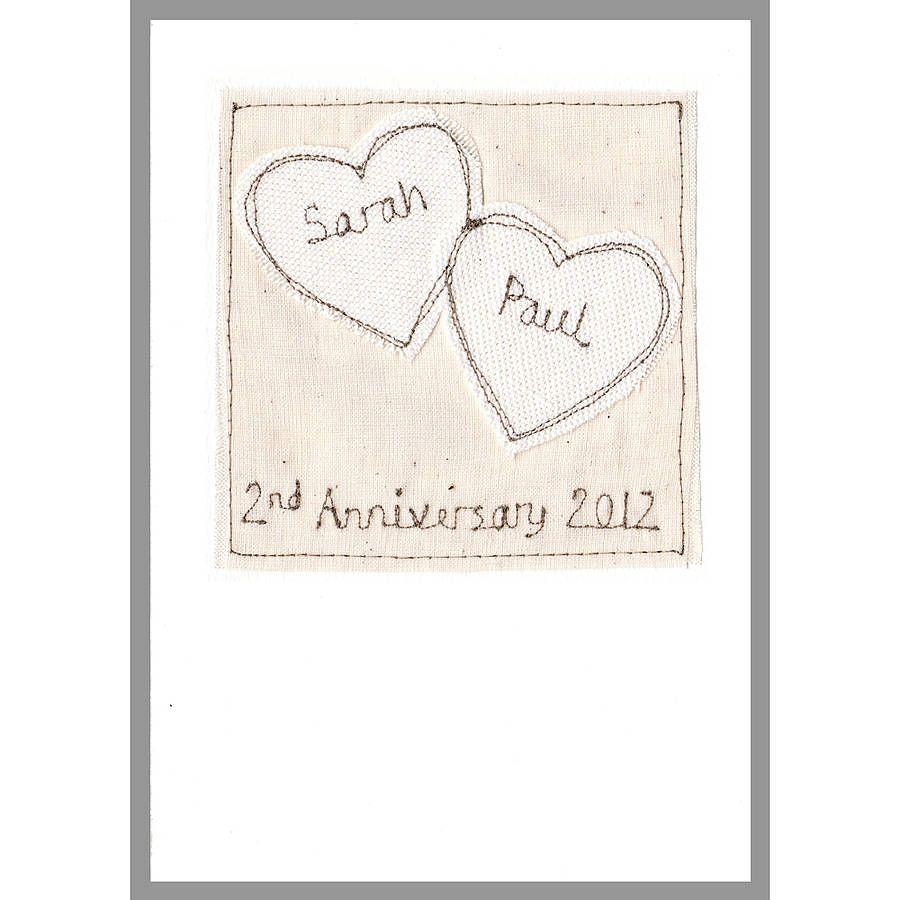 2nd Wedding Anniversary Card 2 Hearts