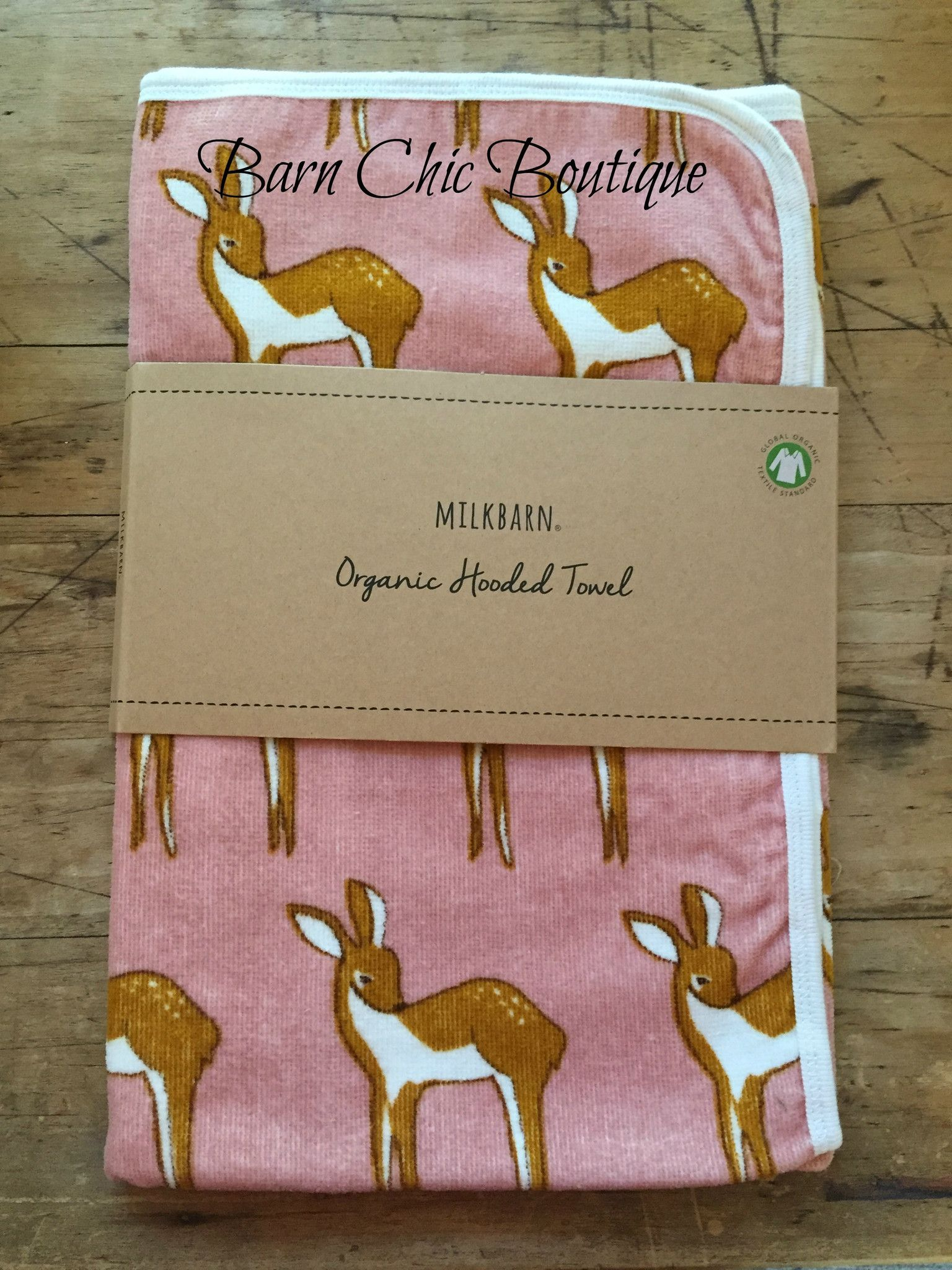 Organic Hooded Bath Towel by MilkBarn Baby - Pink Deer (Doe ...