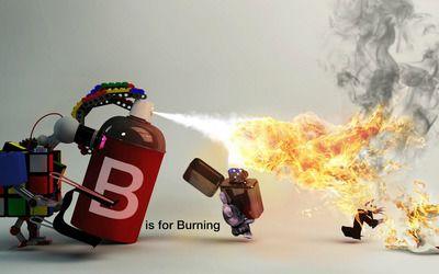 B is for burning wallpaper