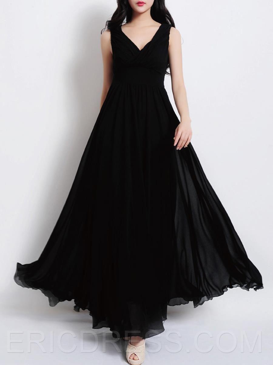 Plain vneck sleeveless expansion maxi dress maxi dresses gowns