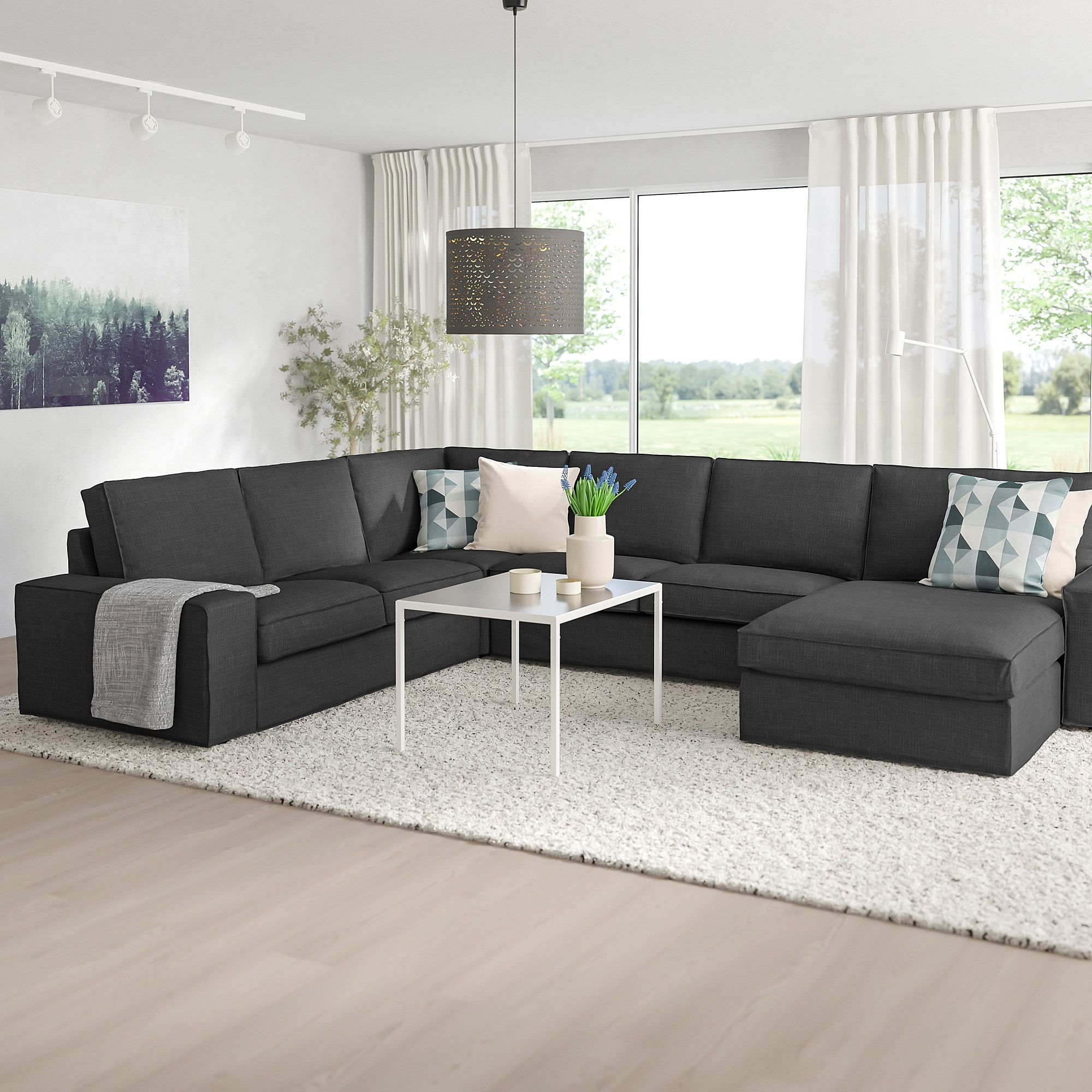 KIVIK Sectional, 5seat corner, with chaise/Hillared