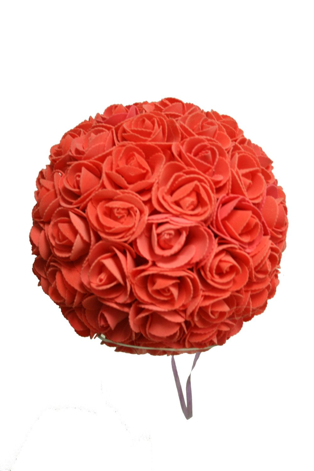 9 Inches Orange/Coral/Lavender/Pink Rose Ball Pomander Kissing ball (USA Seller Fast Shipping) by FeatherParadise on Etsy