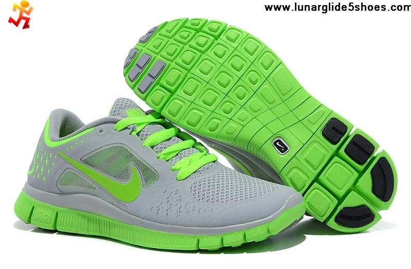 29c1716bc7f2 Newest Womens Nike Free Run 3 Wolf Grey Electric Green Shoes The Most  Flexible Running Shoes