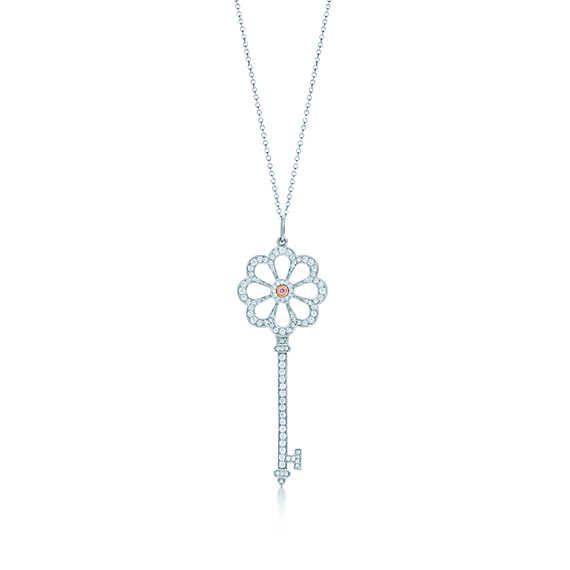 Chiave bocciolo Tiffany Keys in platino e oro rosa 18k con diamanti rosa.