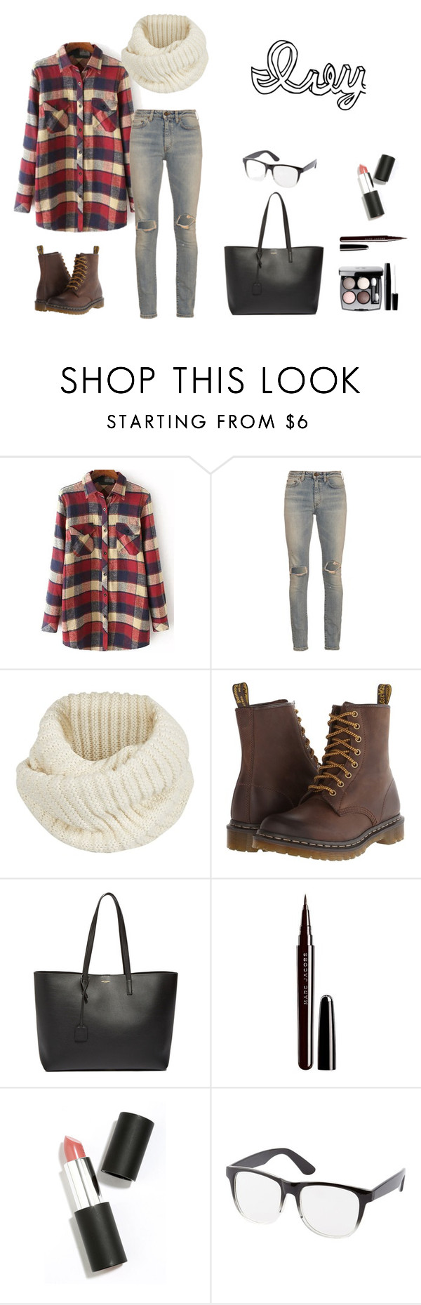 """""""Ivy"""" by jennyyaneva on Polyvore featuring Yves Saint Laurent, Century Seven, Dr. Martens, Chanel, Marc Jacobs, Sigma Beauty and Charlotte Russe"""