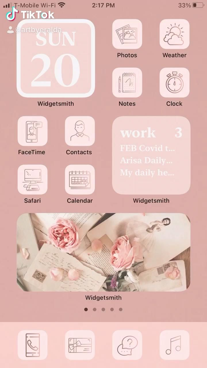 iOS 14 Homescreen Light Pink Vintage Aesthetic