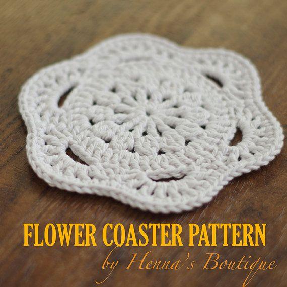 Crochet Coaster Pattern - Flower Coaster - PDF | Crotchet Coffee ...