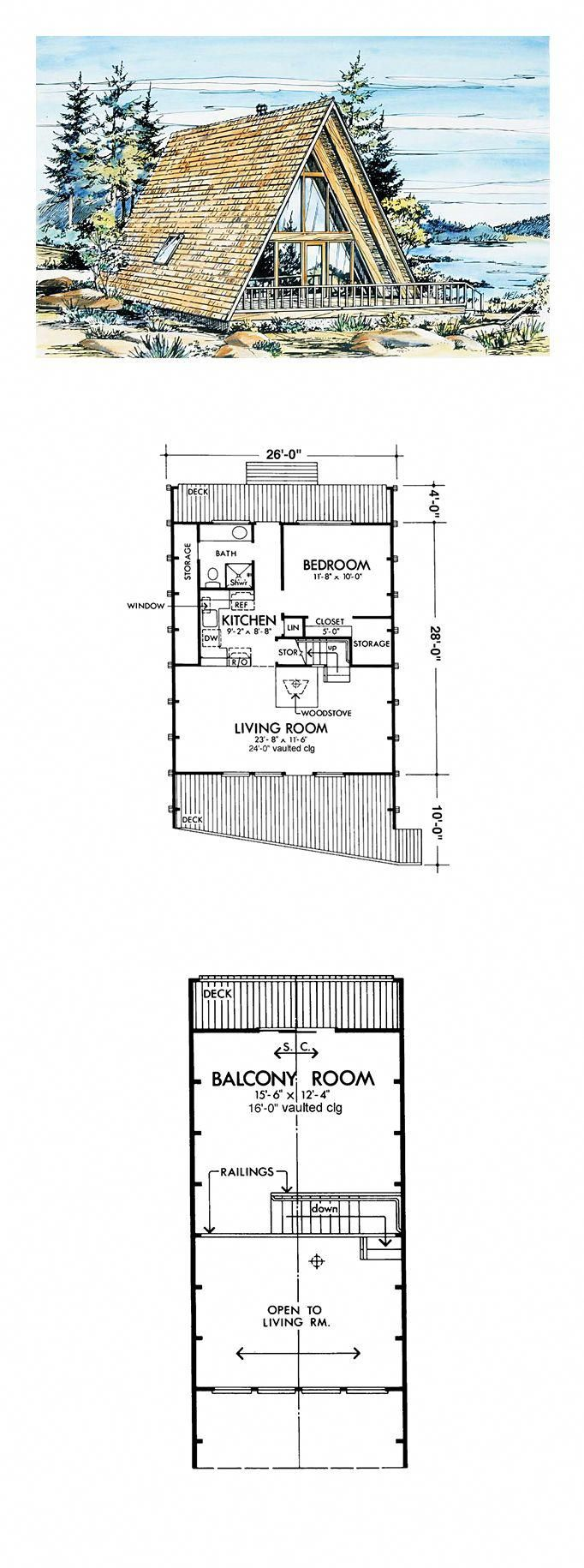 A Frame Style Cool House Plan Id Chp 40551 Total Living Area 908 Sq Ft 1 Bedroom 1 Bathroom Ho A Frame Cabin Plans A Frame House A Frame House Plans