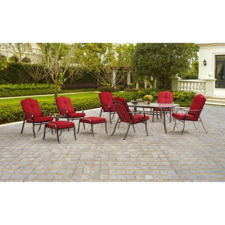 Mainstays Woodacre 10 Piece Patio Dining And Leisure Set Red Seats 6 Walmart Com Outdoor Dining Set Patio Furniture Sets Patio Decor