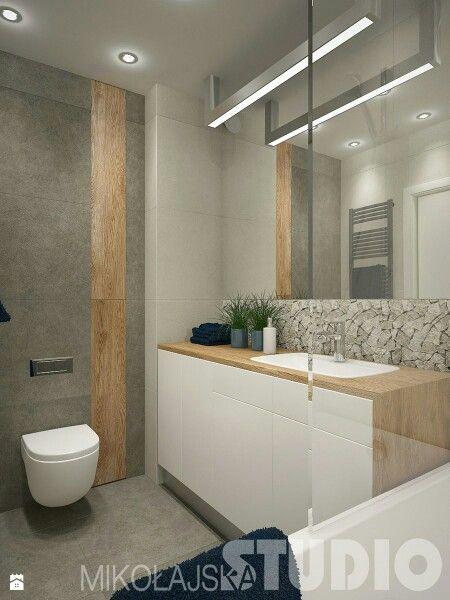 Bad, Waschtisch Weiß Mit Holz, Wandfliesen In Beige, Holzoptik, Grau Und  Mosaiku2026