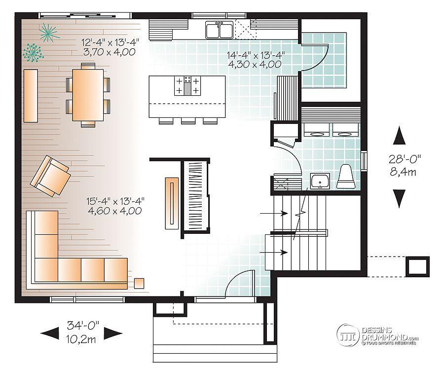 Détail du plan de Maison unifamiliale W3715 Maison Mitoyenne - plan de maison mitoyenne