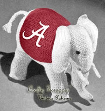 Vintage Crochet Toy Elephant! Roll Tide!