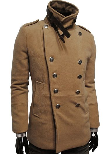 Comfy Long Sleeve Light Tan Double Breasted Woolen Coat