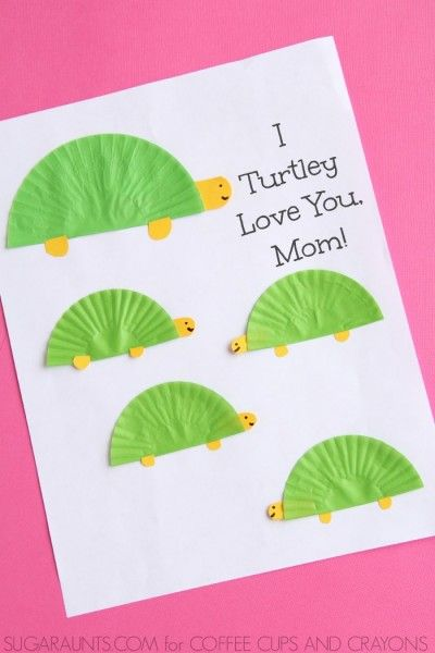Turtle Theme Mothers Day Card Kids Can Make I Turtley Love You