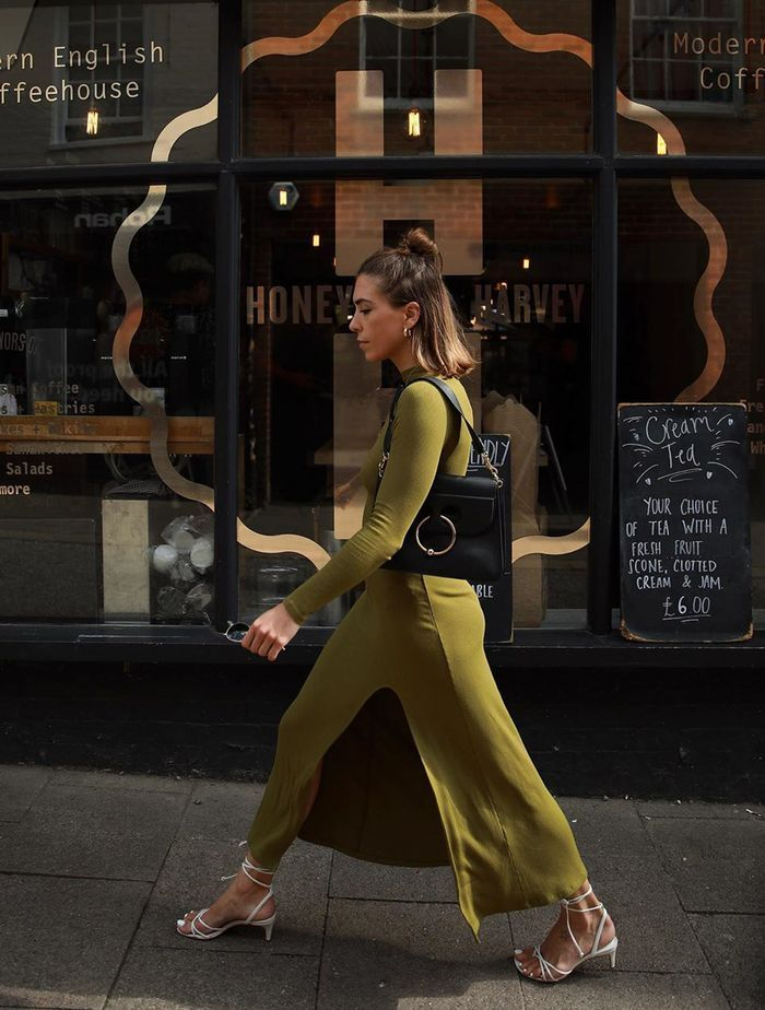 London Autumn Fashion Trends: @_jessicaskye wears a roll-neck jumper dress from & Other Stories