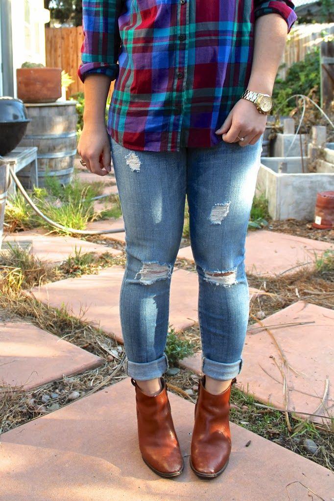 plaid shirt   destroyed jeans