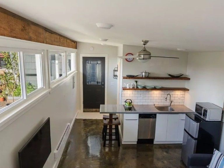 Garage Converted Into 250 Sq Ft Tiny House Now For Sale Garage Apartment Interior Tiny House Cabin Garage To Living Space