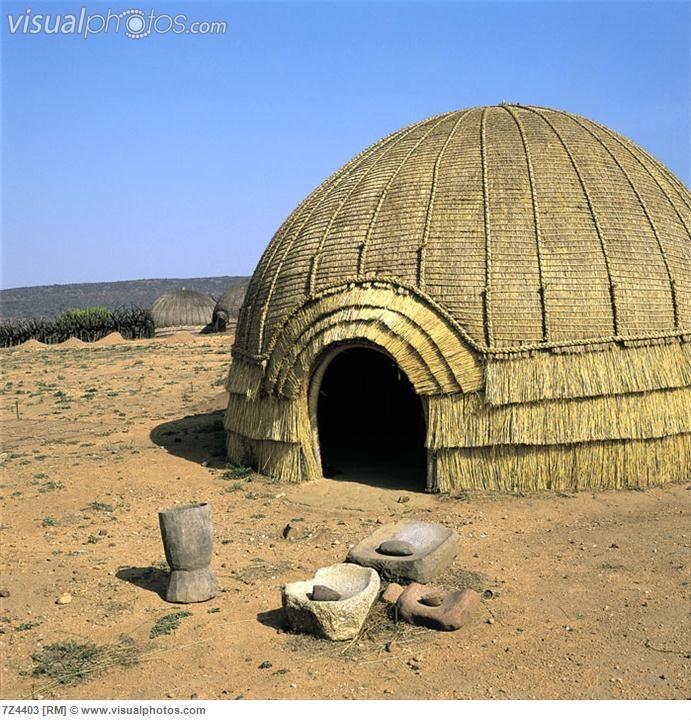South African culture Zulu hut (possibly use raffia when