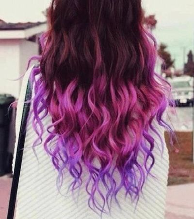 Black Hair Faded Into Brownish Red Faded Into Pink And Finally Faded Into Purple Cute Purple Ombre Hair Dyed Curly Hair Dip Dye Hair