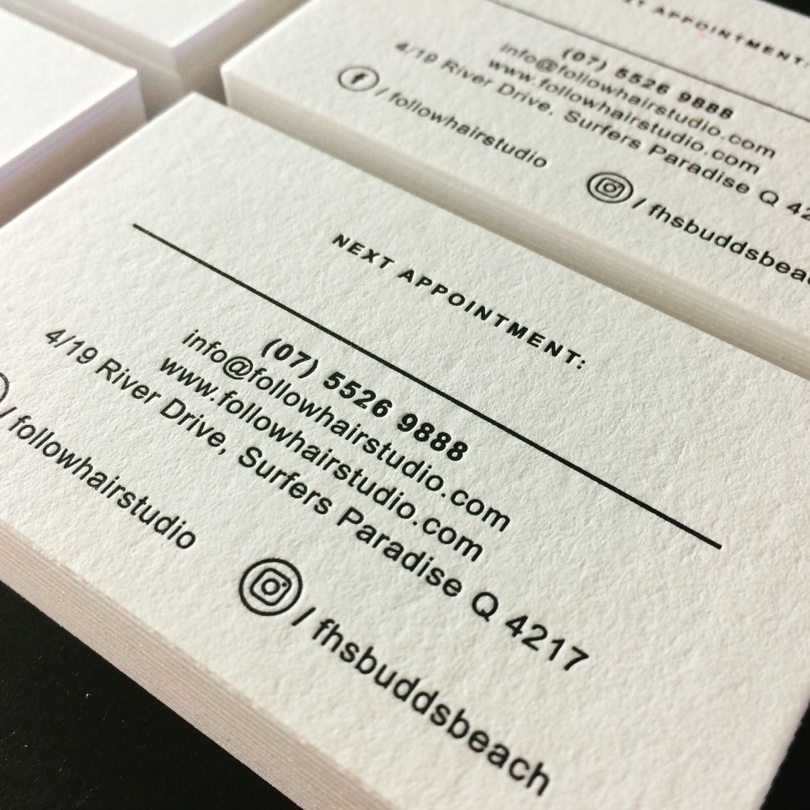 Letterpress printed business cards for follow hair studio printed letterpress printed business cards for follow hair studio printed by the love press brisbane reheart Image collections