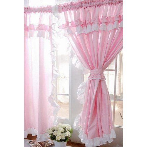 Robot Check Pink Curtains Shabby Chic Curtains Ruffle Curtains