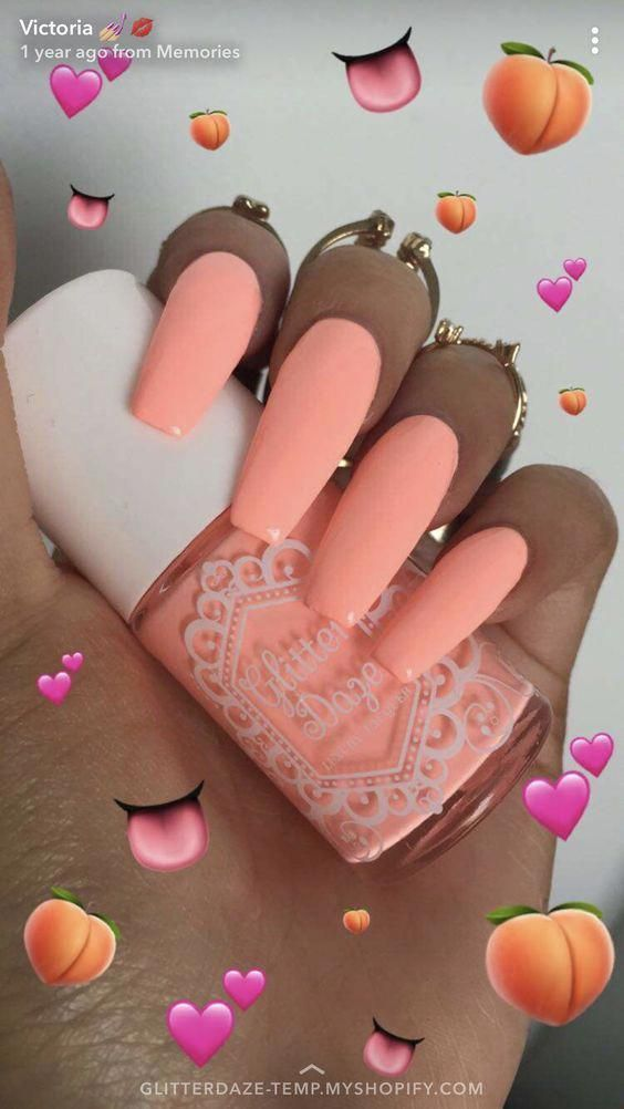 30 Stylish Peach Acrylic Nail Art Designs #Nails - acrylic nails