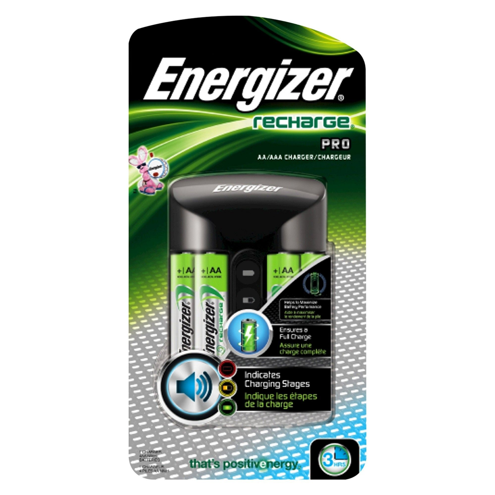 Energizer Rechargeable AA /& AAA Battery Charger 4 NiMH Batteries Recharge Pro