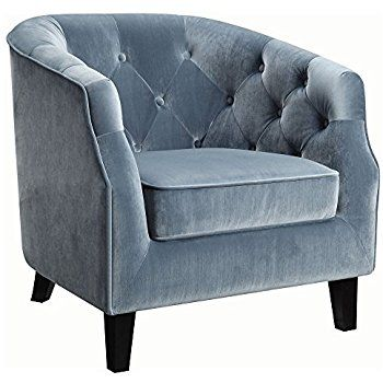 Amazon Com Coaster Velvet Upholstered Tufted Accent Chair In