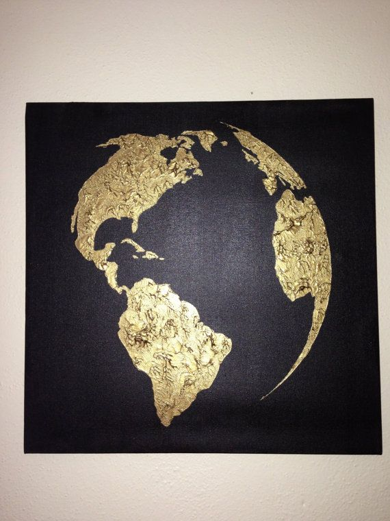 Original world map painting acrylic world map map art globe acrylic hand painted map of the world black and bronze by 10kiaatstreet gumiabroncs