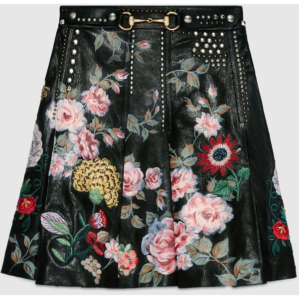 Gucci Hand-Painted Leather Skirt (10 725 AUD) ❤ liked on Polyvore featuring skirts, bottoms, black, womens ready to wear, black knee length skirt, embroidered skirt, black leather skirt, pleated leather skirt and floral printed skirt