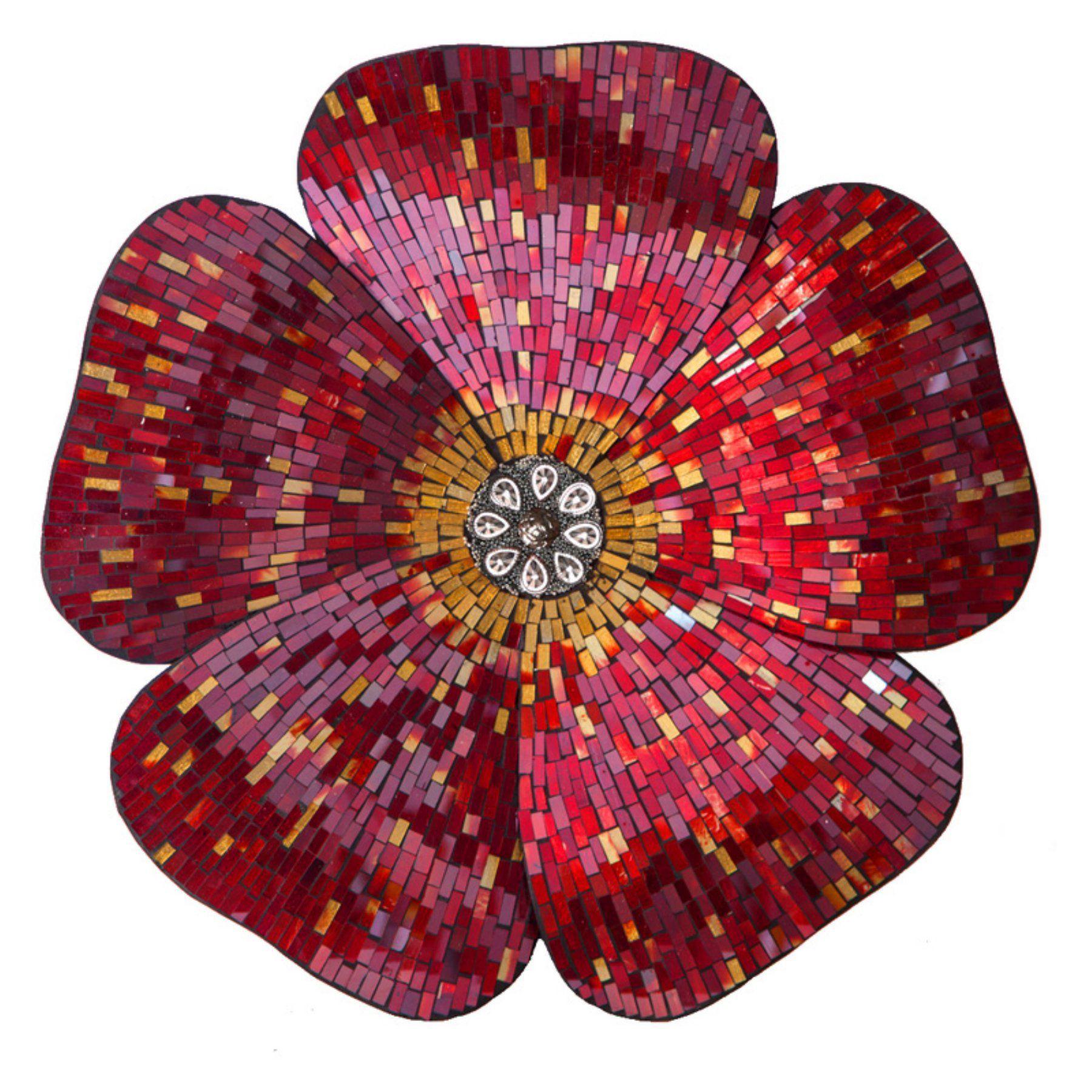River Of Goods Mosaic Glass Flower Wall Sculpture