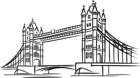 Tower Bridge In London Coloring Page Color Me Pinterest