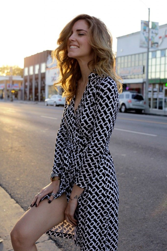 adf78363ab4d1 Chiara Ferragni having reason to smile in her DVF wrap dress. #LA