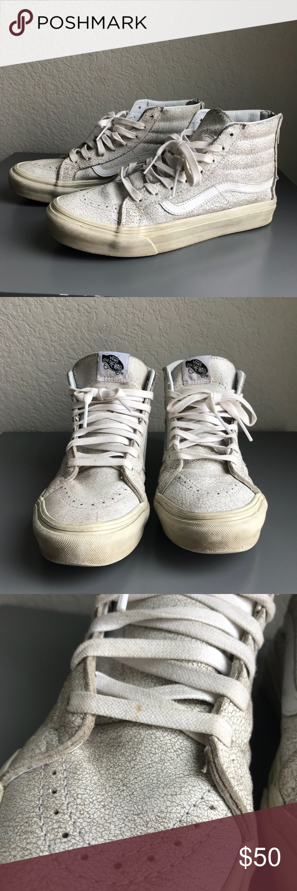 Vans Sk8 Hi White Cracked Leather High Top Sneaker Vans Sk8 Hi White  Cracked Leather High Top Sneaker. Great used condition c208877a9