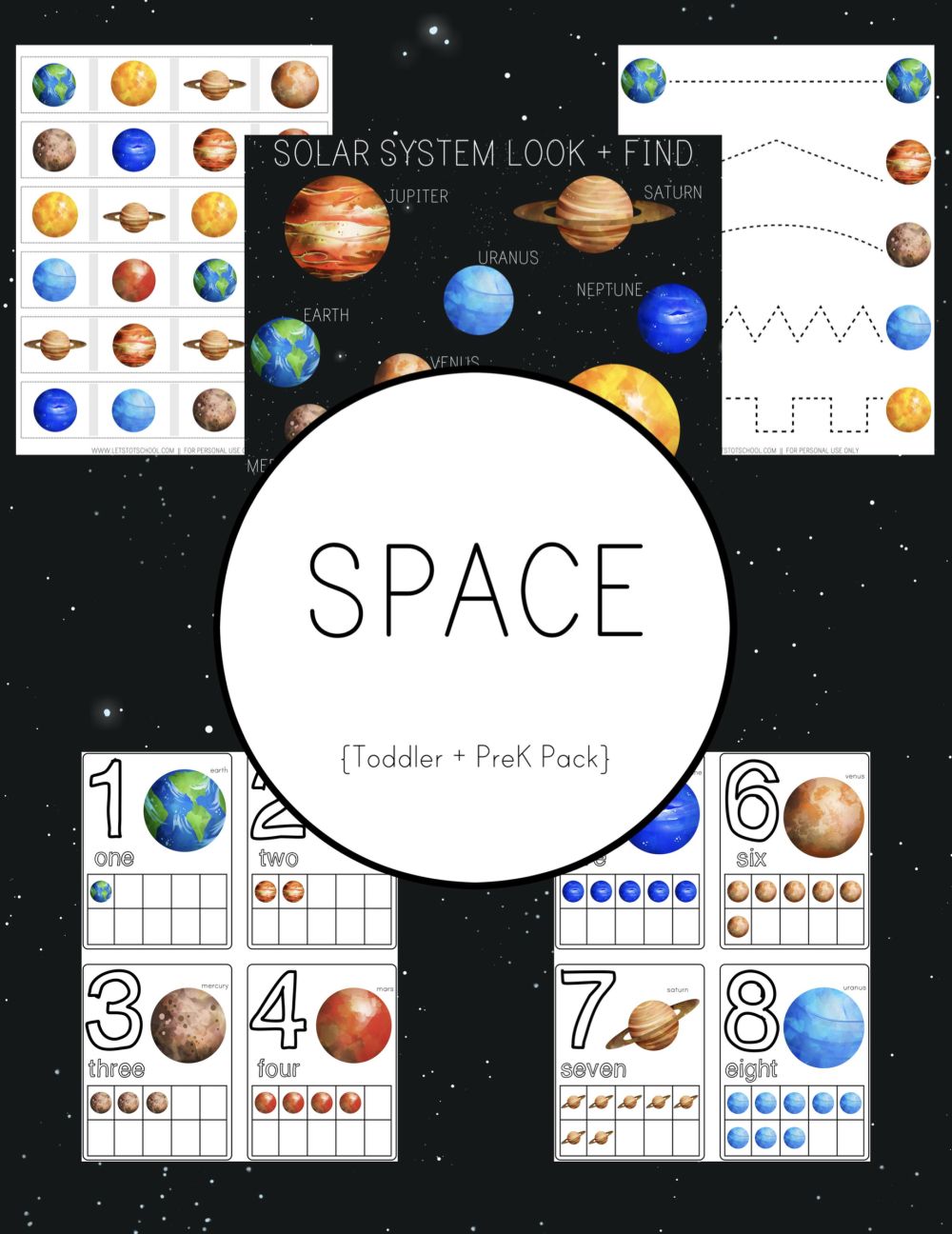 space preschool pack happy put together and space printables