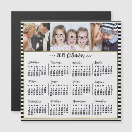 2019 Year Calendar Stripes Custom Photos Magnet in 2018 various